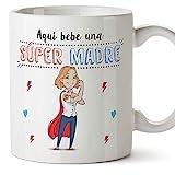 MUGFFINS Tazas Mama para Madres - AQUÍ Bebe UNA Super Madre - Taza Desayuno Original 350 ml - Idea...