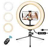 Emuni Anillo de luz LED 10 Pulgadas con trípode y Soporte para teléfono, Anillo de luz para...