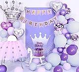 Decoraciones cumpleaños moradas, globos morados pastel, globos morados grises macaron, pancarta de...