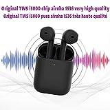 i5000 TWS 1: 1 Aire2 Auriculares inalámbricos Bluetooth Airhoa 1523 Chip, (Negro)