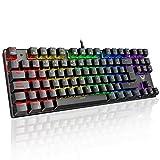 PICTEK Teclado Mecánico Switch Blue con Luz, Teclado Gaming Español LED Rainbow con Switch Azul,...
