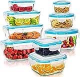 KICHLY - Recipientes de vidrio para comida - 18 pieza (9 envase y 9 transparente tapa) - Apto para...
