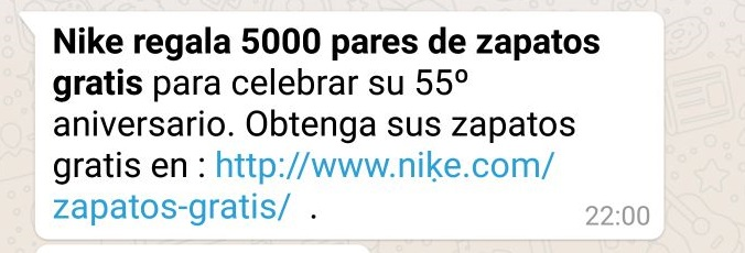 estafa nike whatsapp