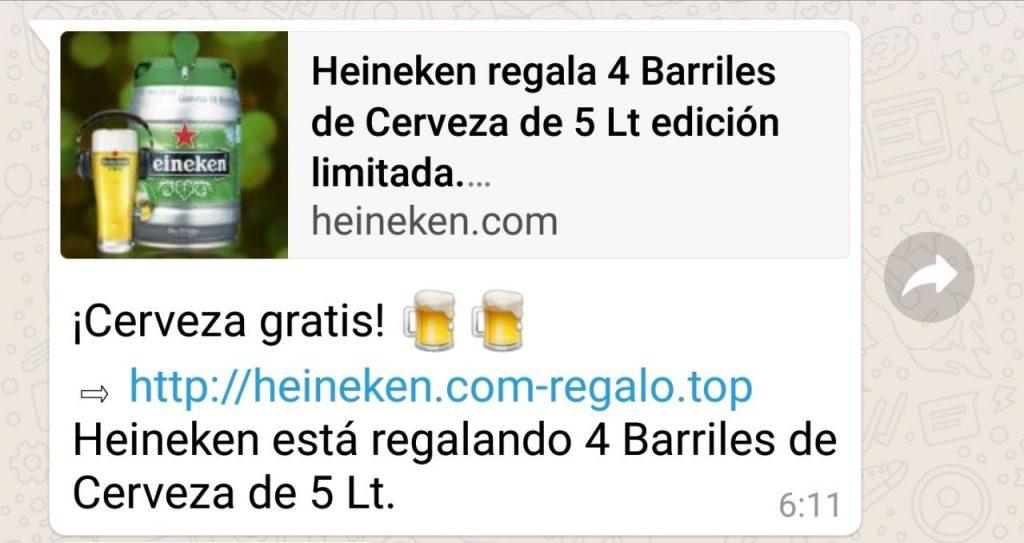 cerveza gratis en Whatsapp