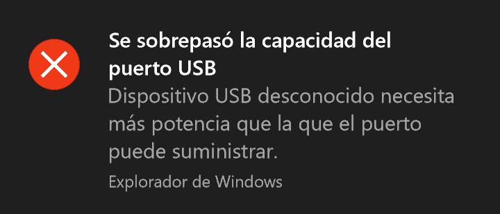 se sobrepasó la capacidad del puerto USB