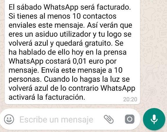 el sabado whatsapp sera facturado