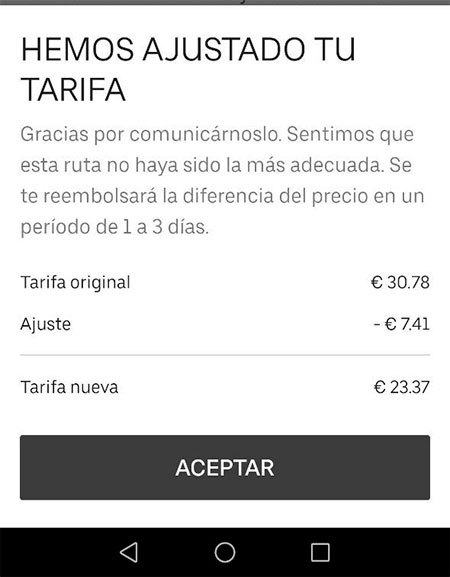 reembolso en Uber