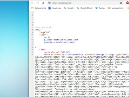 código fuente de una web en el móvil