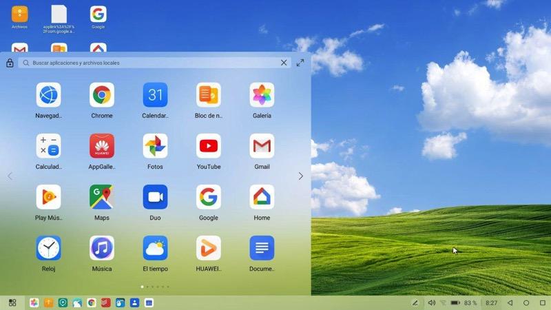 Menu aplicaciones EMUI Desktop