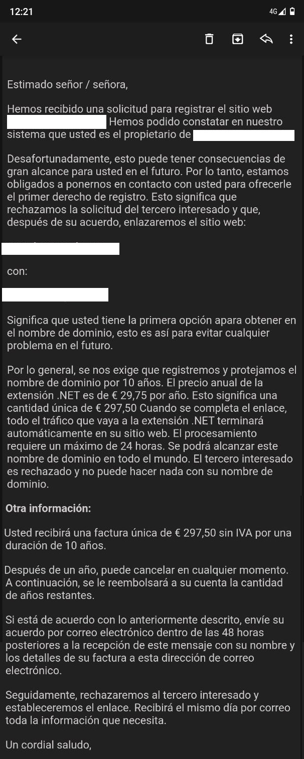 hemos recibido una solicitud para registrar tu nombre de dominio